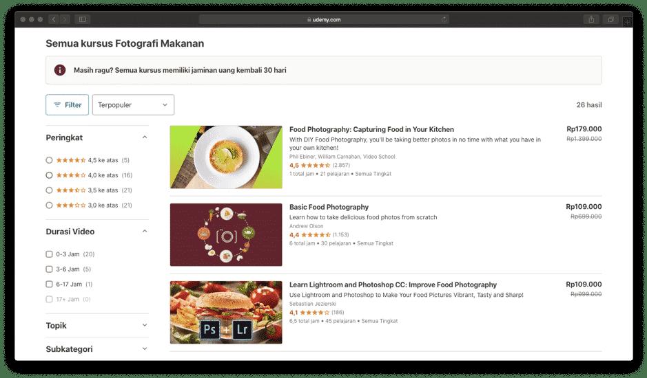 Website Marketplace Kursus Online Udemy